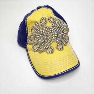 Olive & Pique Embellished Rhinestone Yellow Hat OS